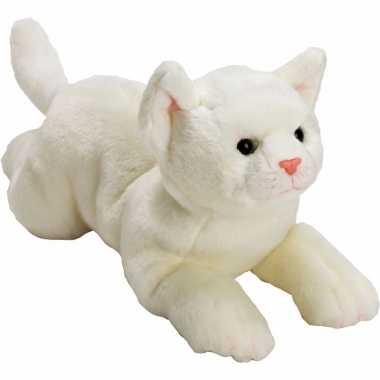 Kater/poes knuffels wit liggend 33 cm