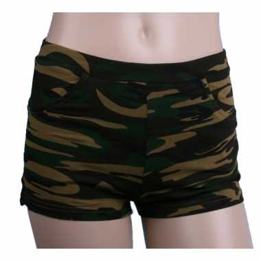Katoenen camouflage hotpants hoge taille