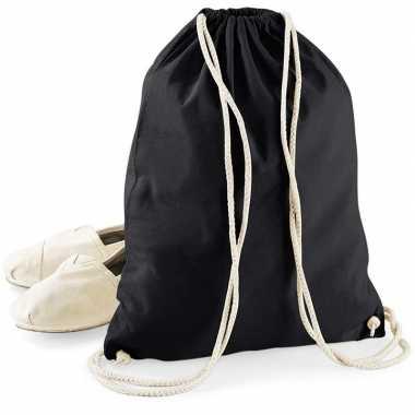 Katoenen sporttasje/zwemtasje zwart met rijgkoord