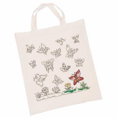 Katoenen tas met vlindermotief om in te kleuren