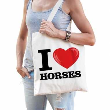 Katoenen tasje i love horses/ paarden