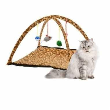 Katten/kitten speelmat met luipaard print 55 cm