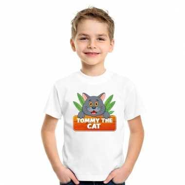 Katten shirt wit tommy the cat voor kinderen