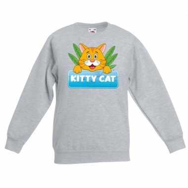 Katten trui grijs tommy the cat voor kinderen