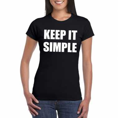 Keep it simple tekst t-shirt zwart dames
