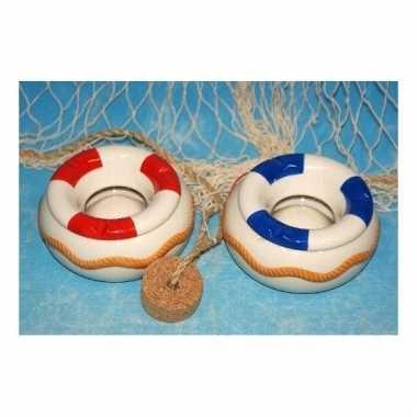 Keramieken asbak strand reddingsboei blauw/wit 12 cm