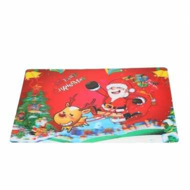 Kerst 3d placemat met kerstman en rendier 42 x 28 cm