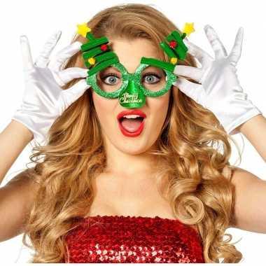 Kerst accessoires fun bril groen/kerstbomen voor volwassenen