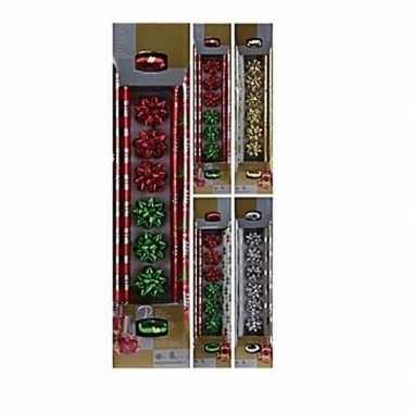 Kerst cadeautjes inpak pakketje 10-delig rood/groen