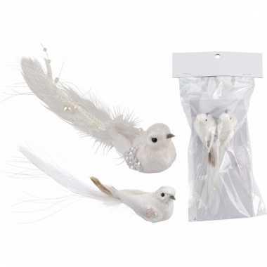 Kerst clip vogeltjes glitter wit 2 stuks