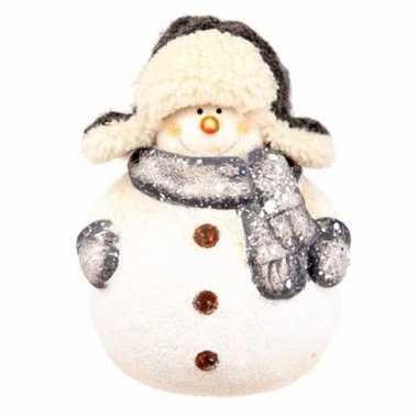 Kerst decoratie beeldje sneeuwpop 13 cm
