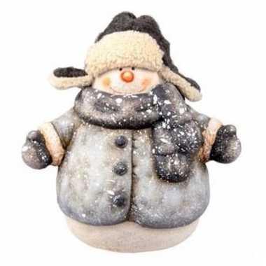Kerst decoratie beeldje sneeuwpop 21 cm