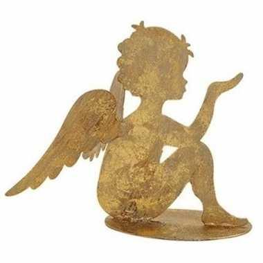 Kerst decoratie engel goud 16 cm