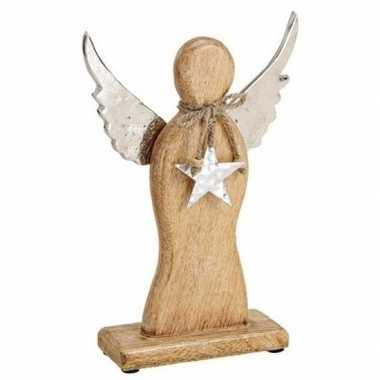 Kerst decoratie engel van hout 27 cm