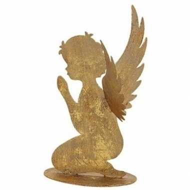 Kerst decoratie engeltje biddend goud 16 cm