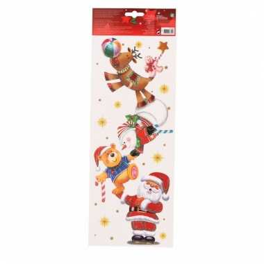 Kerst decoratie raamsticker kerstman met kerstfiguren 42 cm