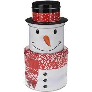 Kerst decoratie sneeuwpoppen stapel blikken 3 stuks