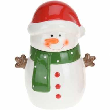 Kerst decoratie/versiering voorraadpot voor koekjes met sneeuwman 23