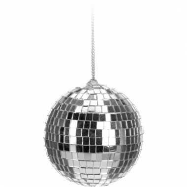 Kerst discobal zilver 6 cm