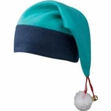 Kerst feest/party turquoise blauwe muts met pluche bolletje en bellet