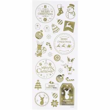 Kerst gouden stickers 26 stuks
