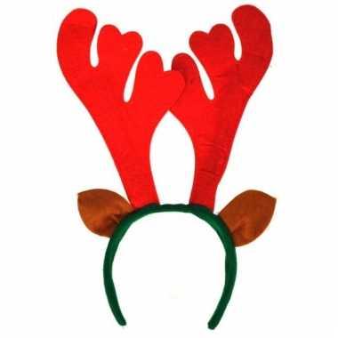 Kerst haarband met rood gewei 10053538