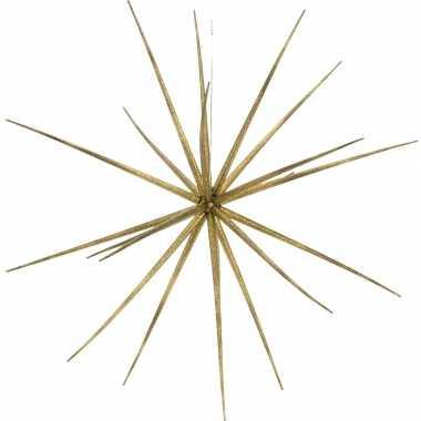 Kerst hang versiering gouden ster kunststof 17 cm