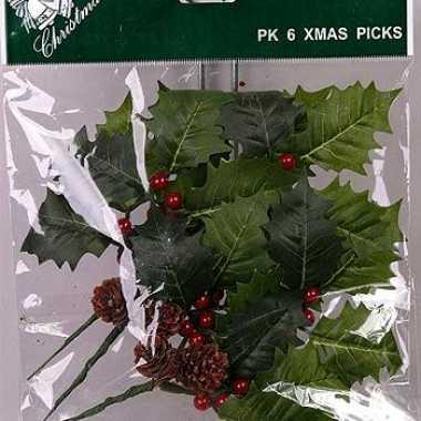 Kerst hulstbladen prikkers 17 cm