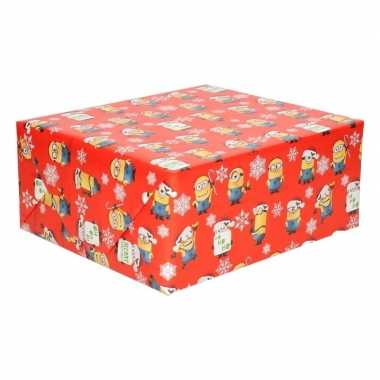 Kerst inpak papier minions rood