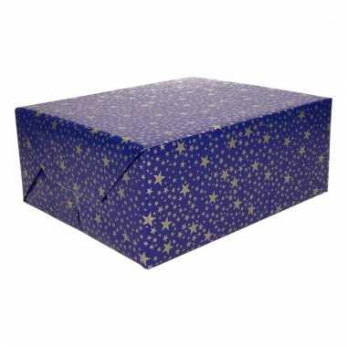 Kerst inpakpapier blauw met gouden sterren