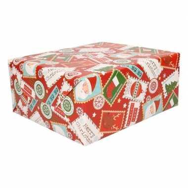Kerst inpakpapier rood met print