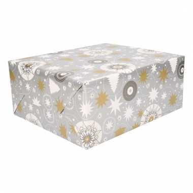 Kerst inpakpapier zilver met print