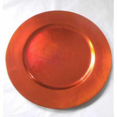 Kerst kaarsenplateau oranje 33 cm