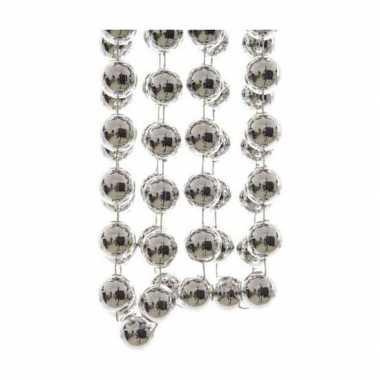 Kerst kralen slinger zilver 270 cm