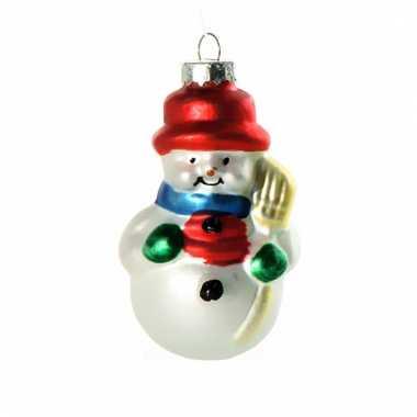 Kerst ornament sneeuwman 8 cm