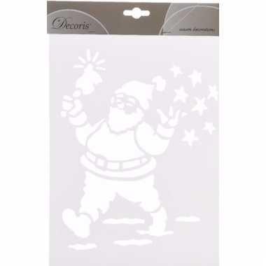 Kerst raamdecoratie sjablonen kerstman 30 cm