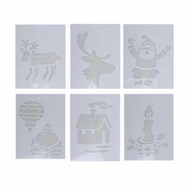 Kerst raamversiering sjablonen 6 stuks type 3