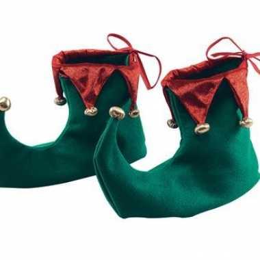 Kerst schoenen groen met rood