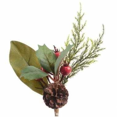 Kerst steker met bessen 20 cm