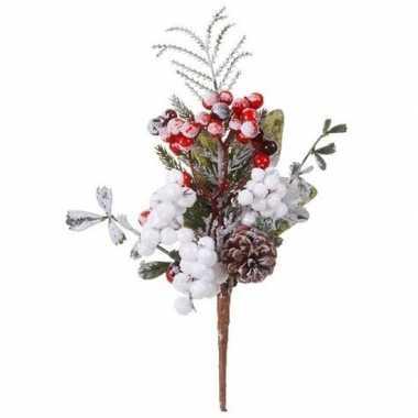 Kerst steker met bessen en sneeuw 20 cm