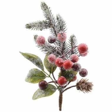 Kerst steker met bessen en sneeuw groen/rood 20 cm