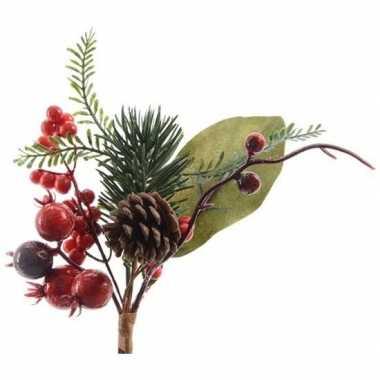 Kerst steker met dennenappel en bessen groen/rood 20 cm