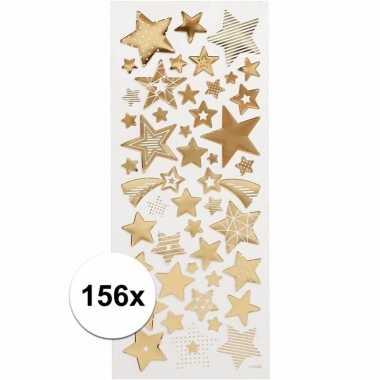Kerst sterren stickers goud 156 stuks
