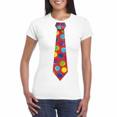 Kerst t-shirt stropdas met kerstballen print wit voor dames
