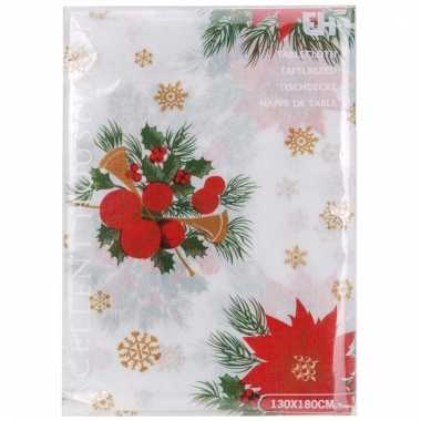 Kerst thema tafelkleed wit met kerststukjes 180 x 130 cm