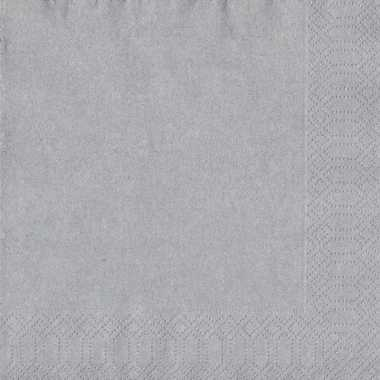 Kerst thema zilveren servetten 33 x 33 cm
