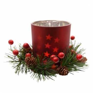 Kerst waxinelichtjeshouder rood kerststukje 8 cm