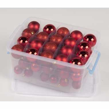 Kerstbal mix box rood 70 stuks