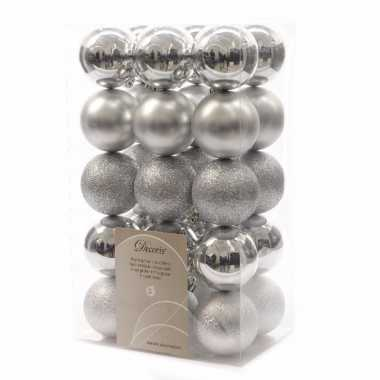Kerstbal pakket mat zilver 6 cm