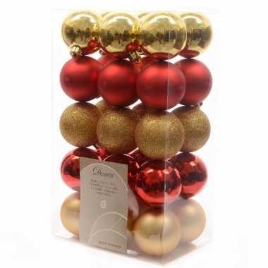 Kerstbal pakket met rood en goud